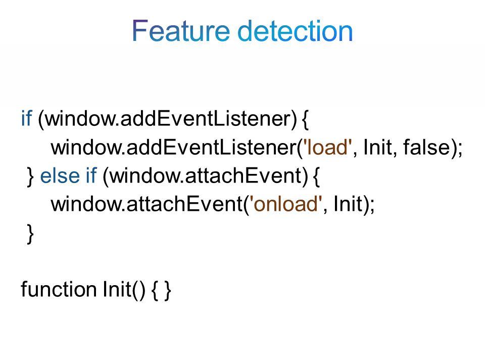 if (window.addEventListener) { window.addEventListener( load , Init, false); } else if (window.attachEvent) { window.attachEvent( onload , Init); } function Init() { }