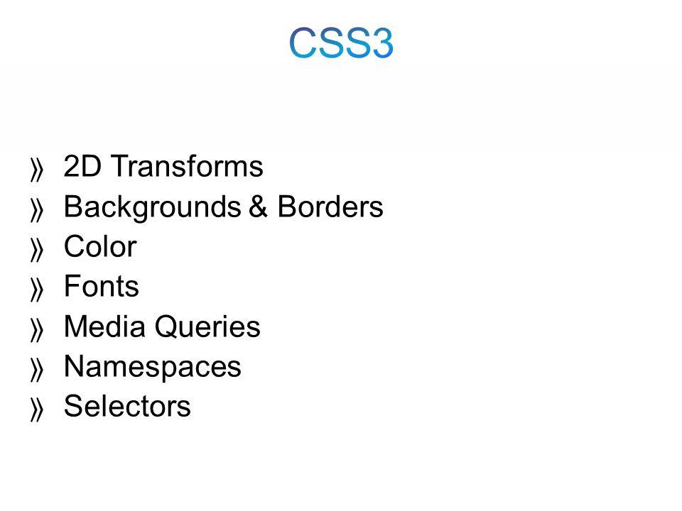  2D Transforms  Backgrounds & Borders  Color  Fonts  Media Queries  Namespaces  Selectors