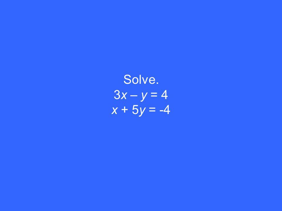 Solve. 3x – y = 4 x + 5y = -4