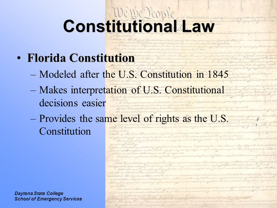 Legal Introduction to Law Daytona State College School of Emergency Services Statutory Law Laws passed by Congress, state legislatures or local authoritiesLaws passed by Congress, state legislatures or local authorities Includes:Includes: –Regulation –Civil law –Criminal law –Administrative law