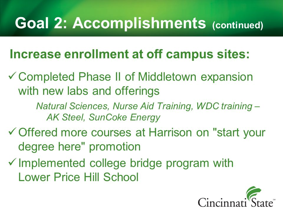 Goal 2: Accomplishments (continued) Increase enrollment at off campus sites: Completed Phase II of Middletown expansion with new labs and offerings Natural Sciences, Nurse Aid Training, WDC training – AK Steel, SunCoke Energy Offered more courses at Harrison on start your degree here promotion Implemented college bridge program with Lower Price Hill School