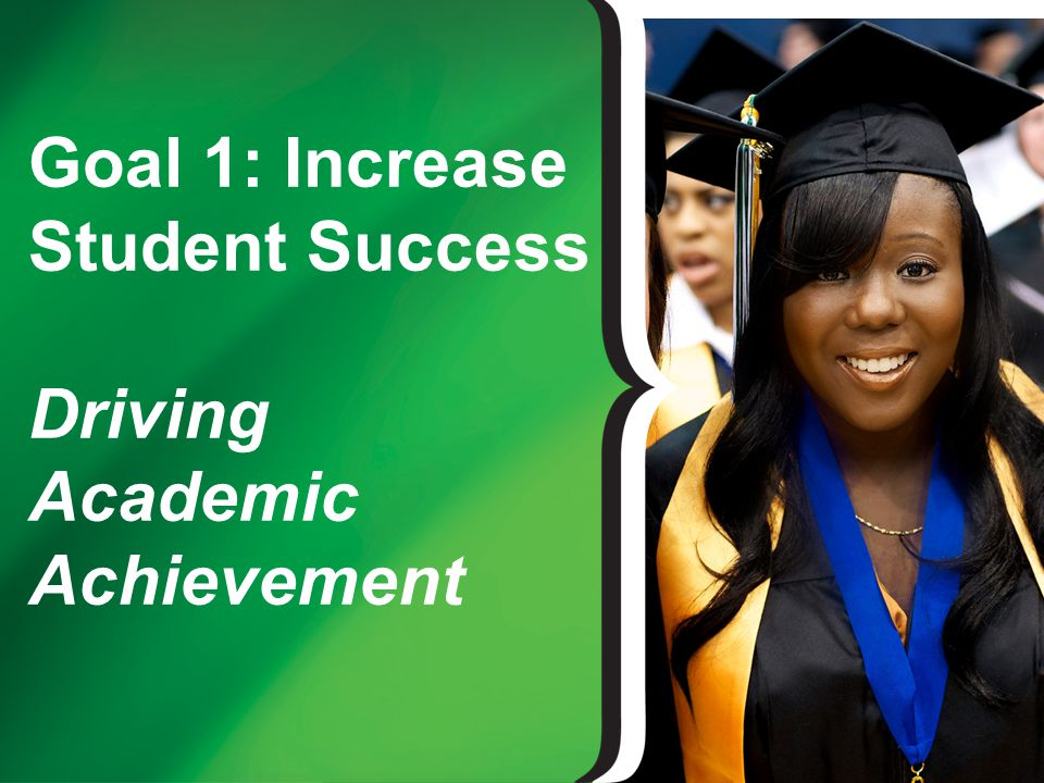 Goal 1: Key Strategies Reduce the time to complete required Academic Foundations Math courses Increase first-to-second year retention of first- time degree seeking students Increase number of merit scholarships awarded to first-time, full-time degree seeking students during their first semester Increase graduation rate for first-time, full- time degree seeking students