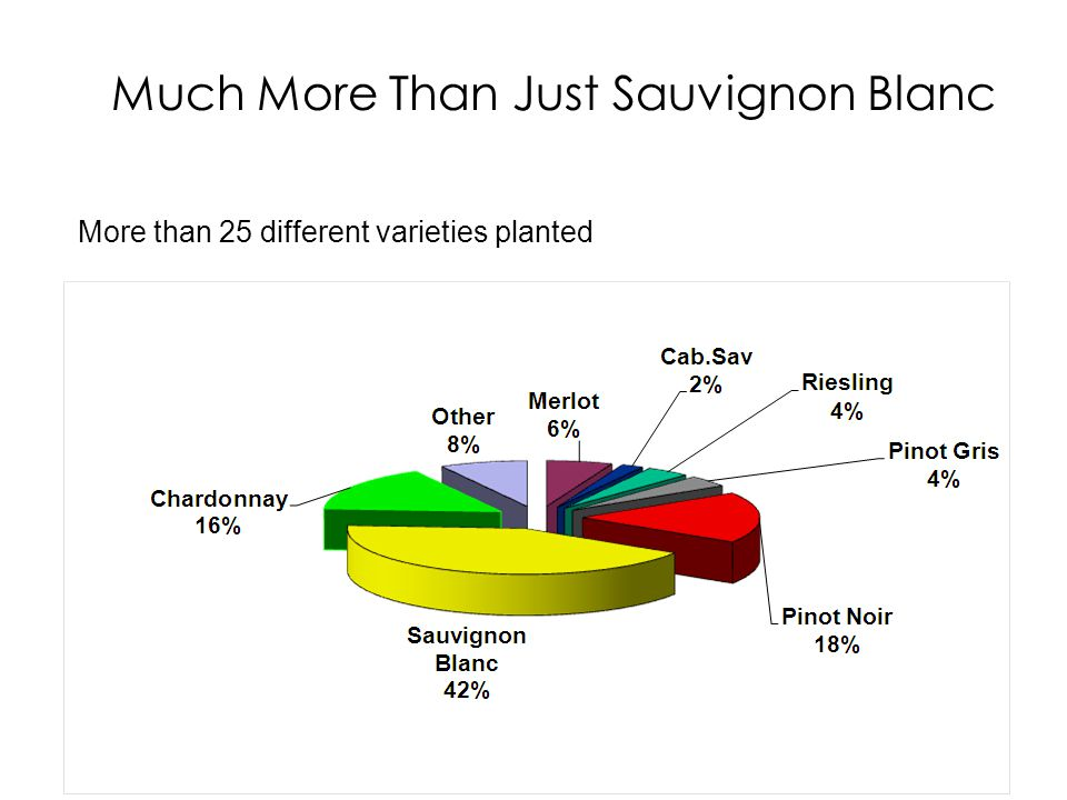 Much More Than Just Sauvignon Blanc More than 25 different varieties planted