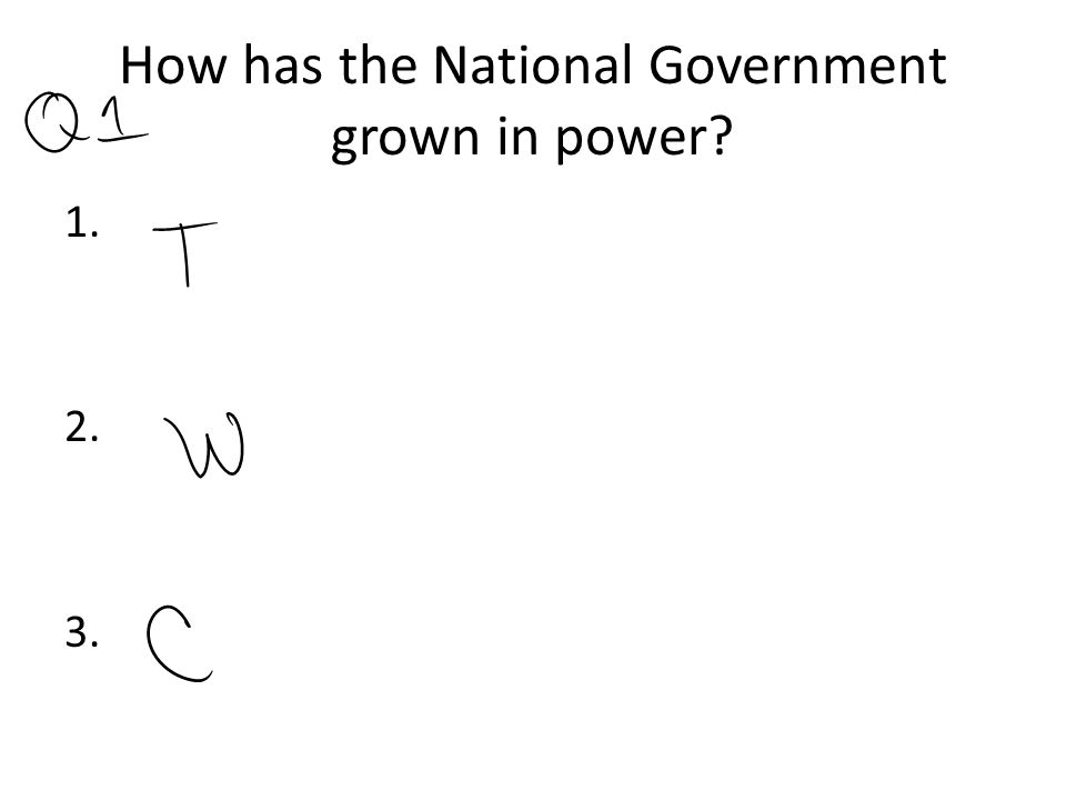 How has the National Government grown in power? 1. 2. 3.