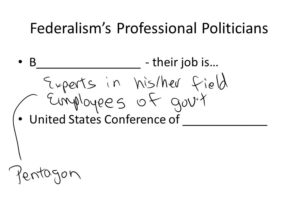 Federalism's Professional Politicians B________________ - their job is… United States Conference of _____________