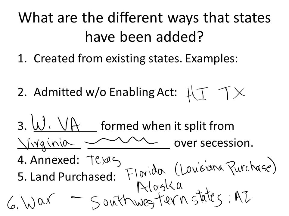 What are the different ways that states have been added.