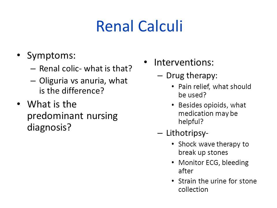 Renal Calculi Symptoms: – Renal colic- what is that.