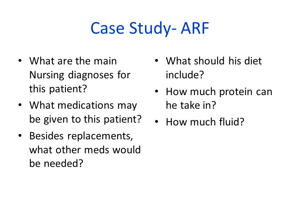 Case Study- ARF What are the main Nursing diagnoses for this patient.