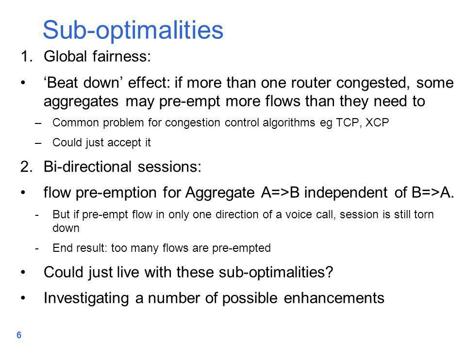 6 1.Global fairness: 'Beat down' effect: if more than one router congested, some aggregates may pre-empt more flows than they need to –Common problem for congestion control algorithms eg TCP, XCP –Could just accept it 2.Bi-directional sessions: flow pre-emption for Aggregate A=>B independent of B=>A.