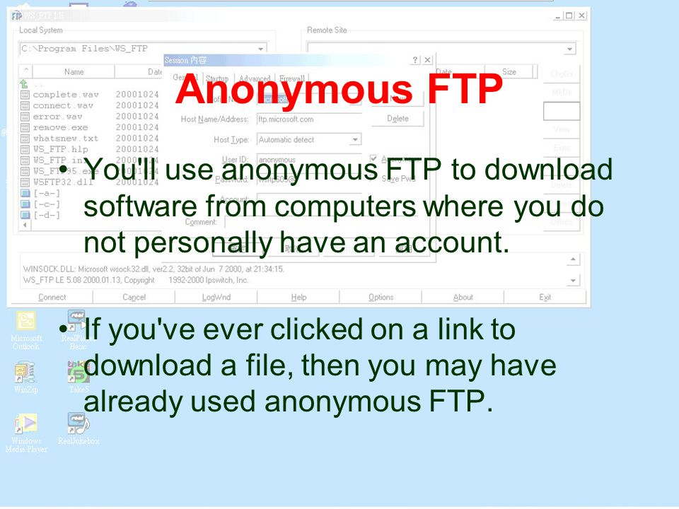 Anonymous FTP You ll use anonymous FTP to download software from computers where you do not personally have an account.