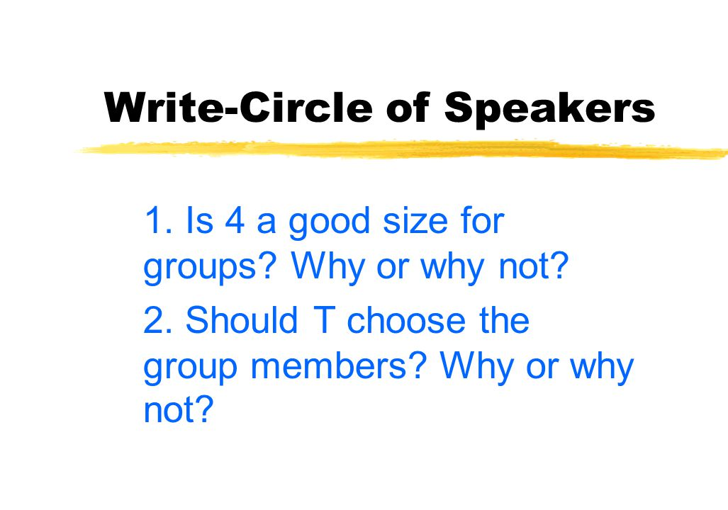 Write-Circle of Speakers Each partner writes alone 1 talks for 2 mins.; 2 listens 2 talks for 2 mins.; 1 listens 1 & 2 share the other's ideas with the class