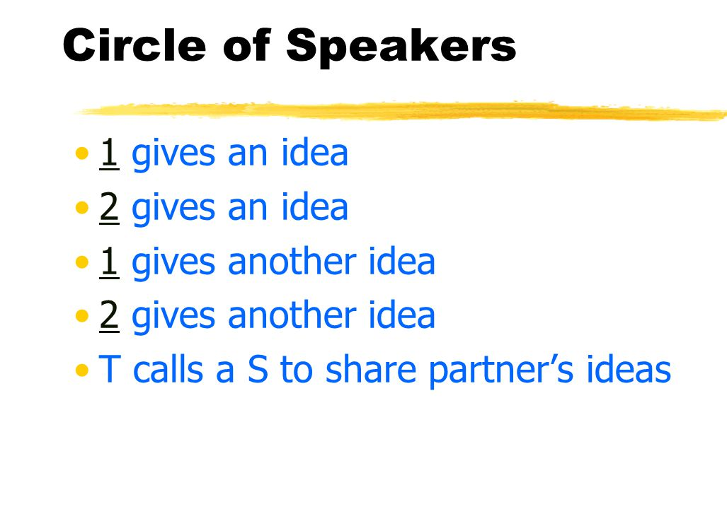 Circle of Speakers What are collaborative skills your students need to improve