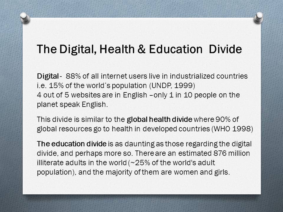 Digital - 88% of all internet users live in industrialized countries i.e. 15% of the world's population (UNDP, 1999) 4 out of 5 websites are in Englis