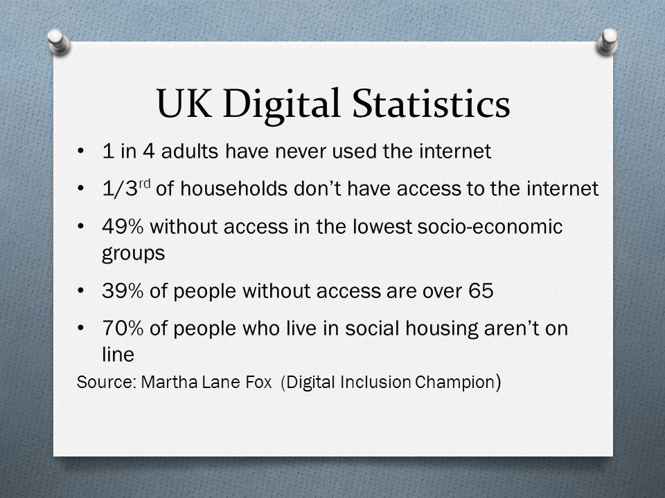 1 in 4 adults have never used the internet 1/3 rd of households don't have access to the internet 49% without access in the lowest socio-economic groups 39% of people without access are over 65 70% of people who live in social housing aren't on line Source: Martha Lane Fox (Digital Inclusion Champion ) UK Digital Statistics