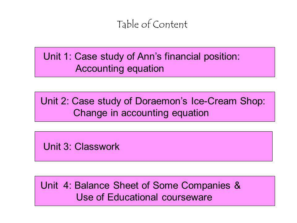 Unit 1: Case study of Ann's financial position: Accounting equation Table of Content Unit 4: Balance Sheet of Some Companies & Use of Educational courseware Unit 2: Case study of Doraemon's Ice-Cream Shop: Change in accounting equation Unit 3: Classwork