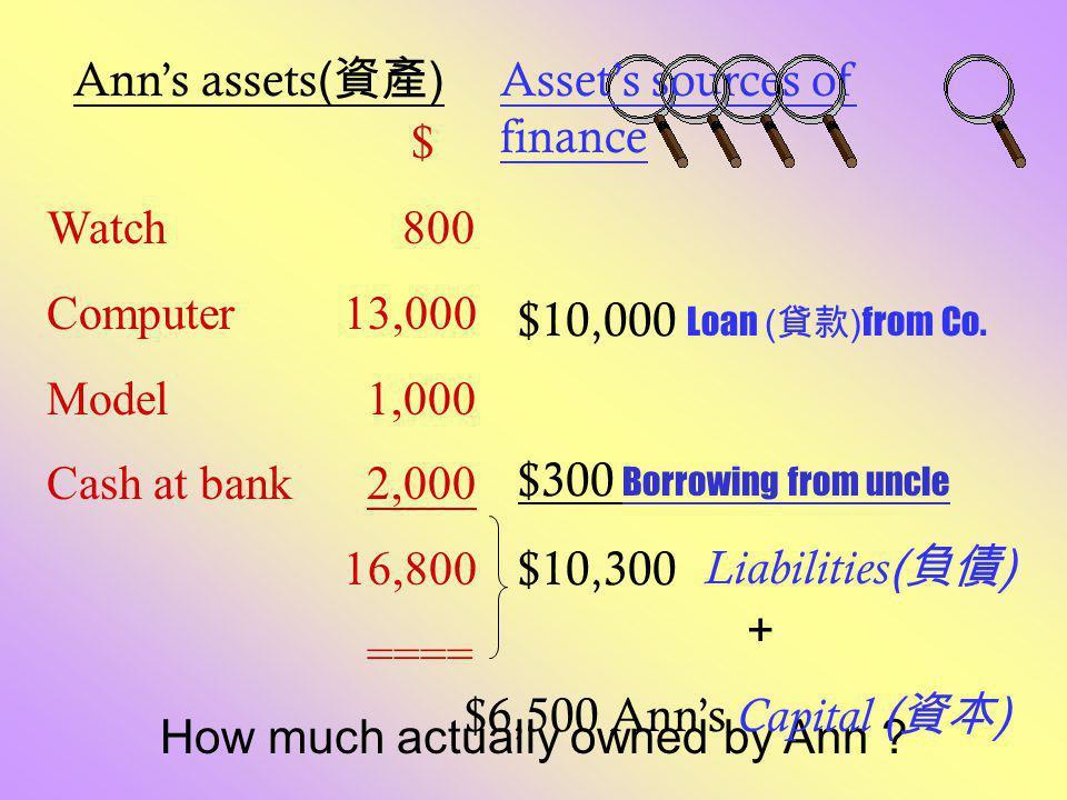 Doraemon's Ice-Cream Shop Balance sheet as at 31 Dec 2000 Assets $ Capital & Liabilities $ Electrical appliances 10,000Capital 150,000 Office equipment 9,000 Loan 4,000 Stock 12,000 Bank 123,000_______ 154,000154,000======