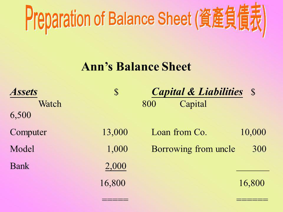 Ann's assets ( 資產 ) $ Watch 800 Computer 13,000 Model 1,000 Cash at bank2,000 16,800 ==== Asset's sources of finance $10,000 Loan ( 貸款 ) from Co. $300