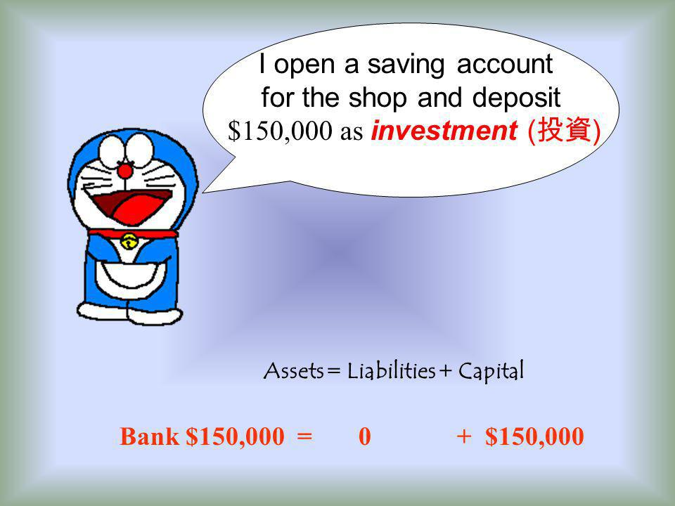 I open a saving account for the shop and deposit $150,000 as investment ( 投資 ) Assets = Liabilities + Capital Bank $150,000 = 0 + $150,000
