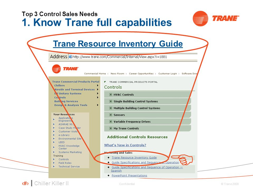 Chiller Killer II 63 © Trane 2008 Confidential Top 3 Control Sales Needs 1. Know Trane full capabilities  Trane Resource Inventory Guide