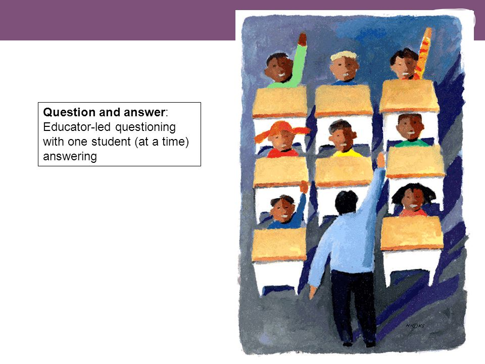 Question and answer: Educator-led questioning with one student (at a time) answering