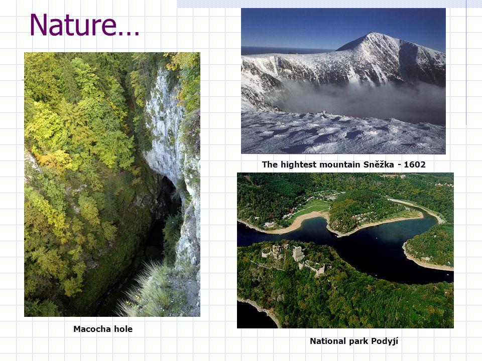 Nature… Macocha hole The hightest mountain Sněžka - 1602 National park Podyjí