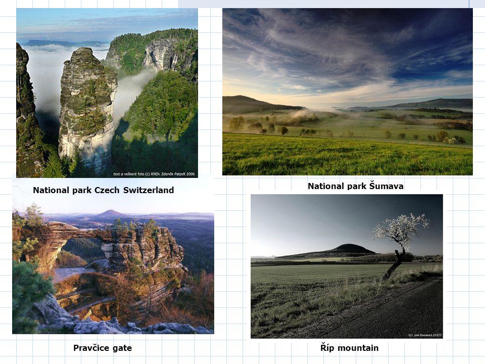 National park Šumava Pravčice gate National park Czech Switzerland Říp mountain
