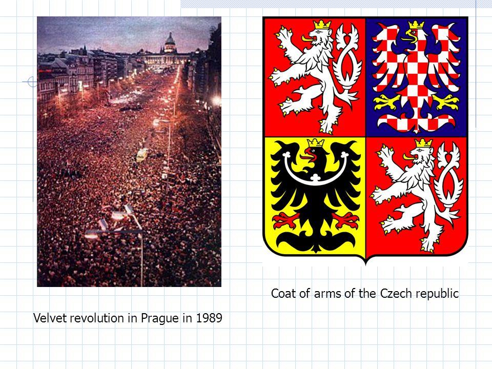 Coat of arms of the Czech republic Velvet revolution in Prague in 1989