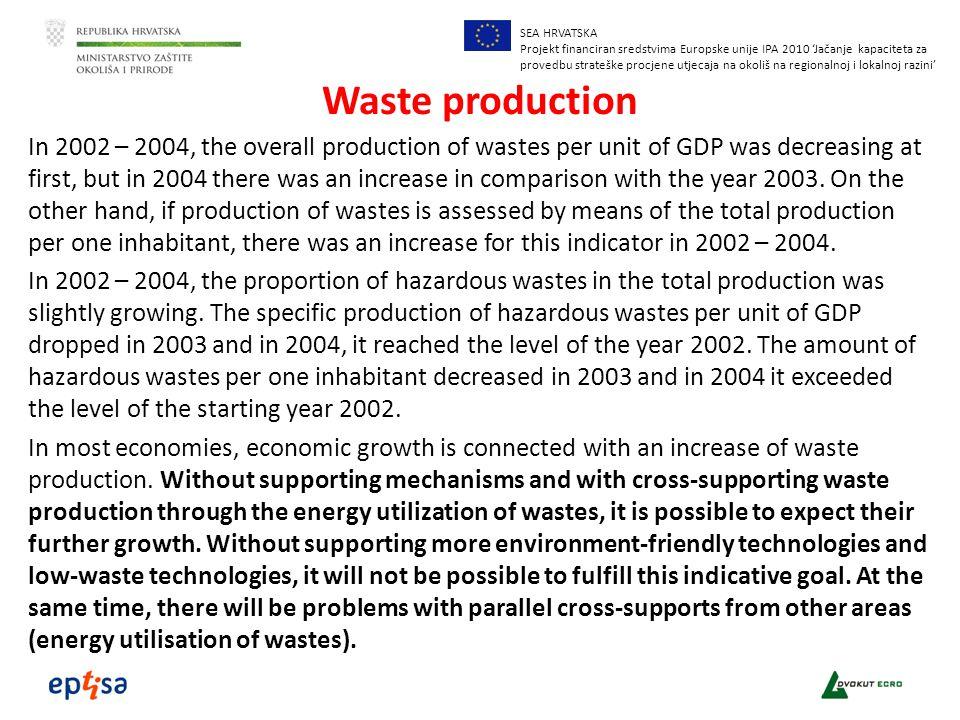 SEA HRVATSKA Projekt financiran sredstvima Europske unije IPA 2010 'Jačanje kapaciteta za provedbu strateške procjene utjecaja na okoliš na regionalnoj i lokalnoj razini' Waste production In 2002 – 2004, the overall production of wastes per unit of GDP was decreasing at first, but in 2004 there was an increase in comparison with the year 2003.