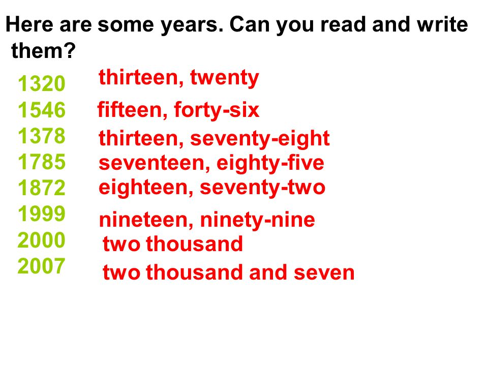 Here are some years. Can you read and write them.