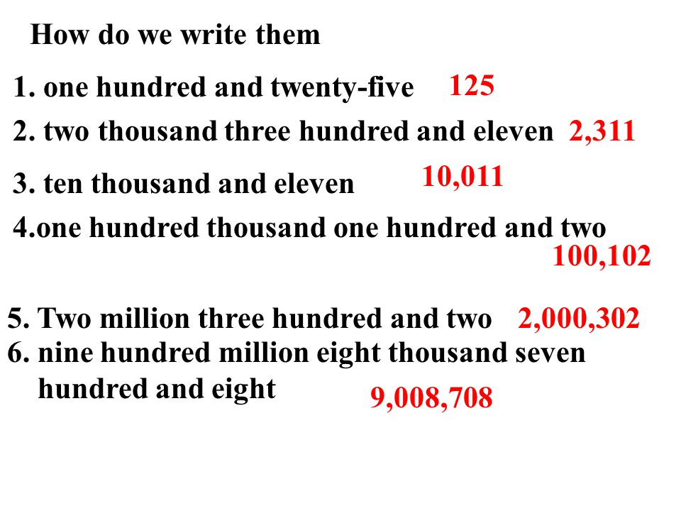 How do we write them 1. one hundred and twenty-five 2.
