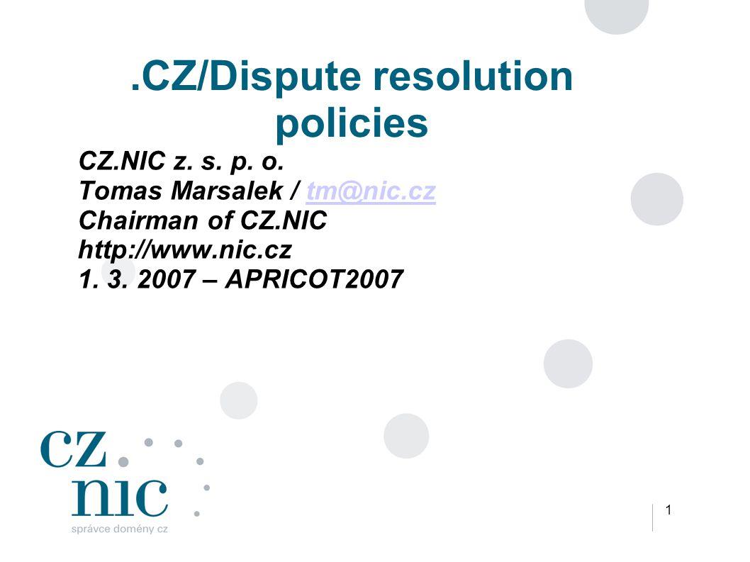 1.CZ/Dispute resolution policies CZ.NIC z. s. p.