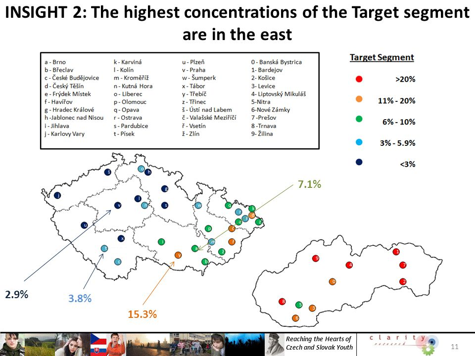 Reaching the Hearts of Czech and Slovak Youth INSIGHT 2: The highest concentrations of the Target segment are in the east 11 15.3% 2.9% 3.8% 7.1%