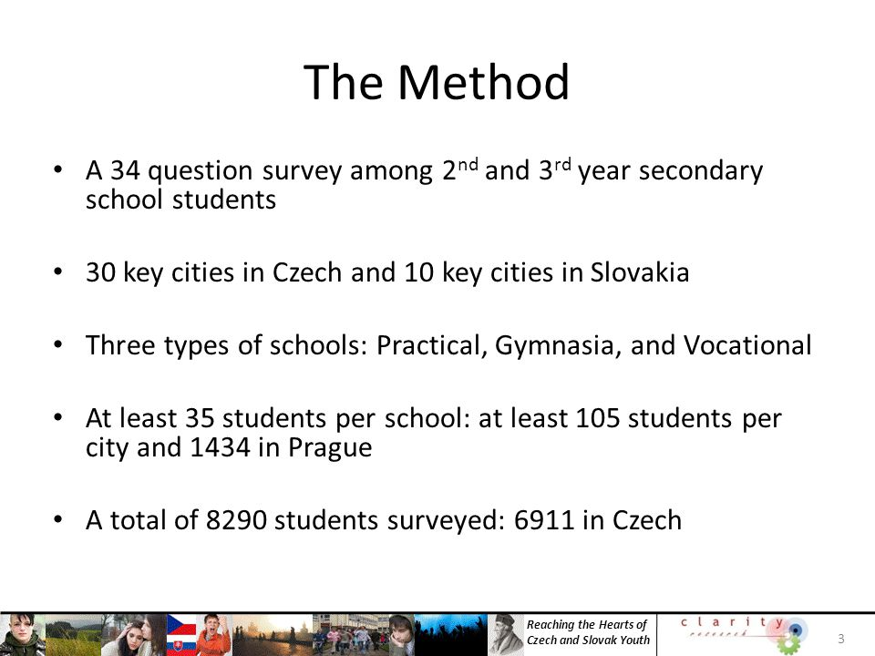 Reaching the Hearts of Czech and Slovak Youth INSIGHT 3: Larger portions of Target and Evangelical segments are in Gymnasia 24 SchoolsTargetNominalEvangelicalALL Students Practical22%28%21%26% Gymnasia41%34%49%35% Vocational37%38%30%39% 100%