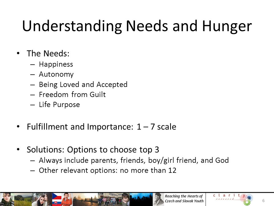 Reaching the Hearts of Czech and Slovak Youth Hunger Hunger: Importance x (Importance - Fulfillment) 7
