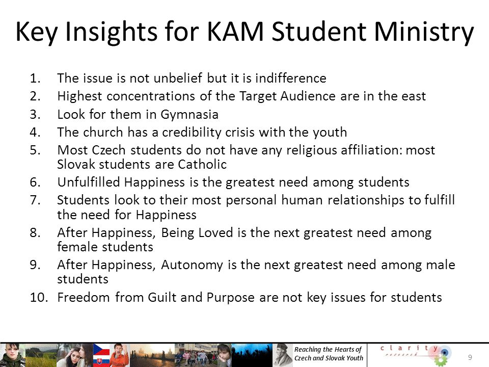 Reaching the Hearts of Czech and Slovak Youth 30 INSIGHT 6: Unfulfilled Happiness is the Greatest Need Among Students