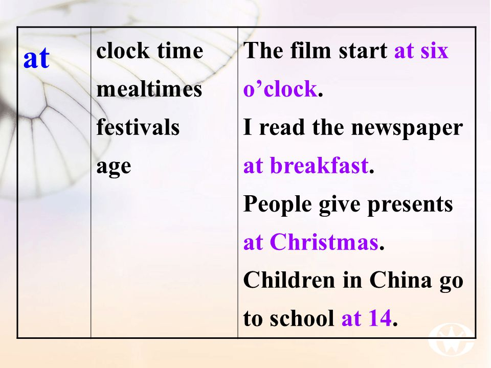 at clock time mealtimes festivals age The film start at six o'clock.