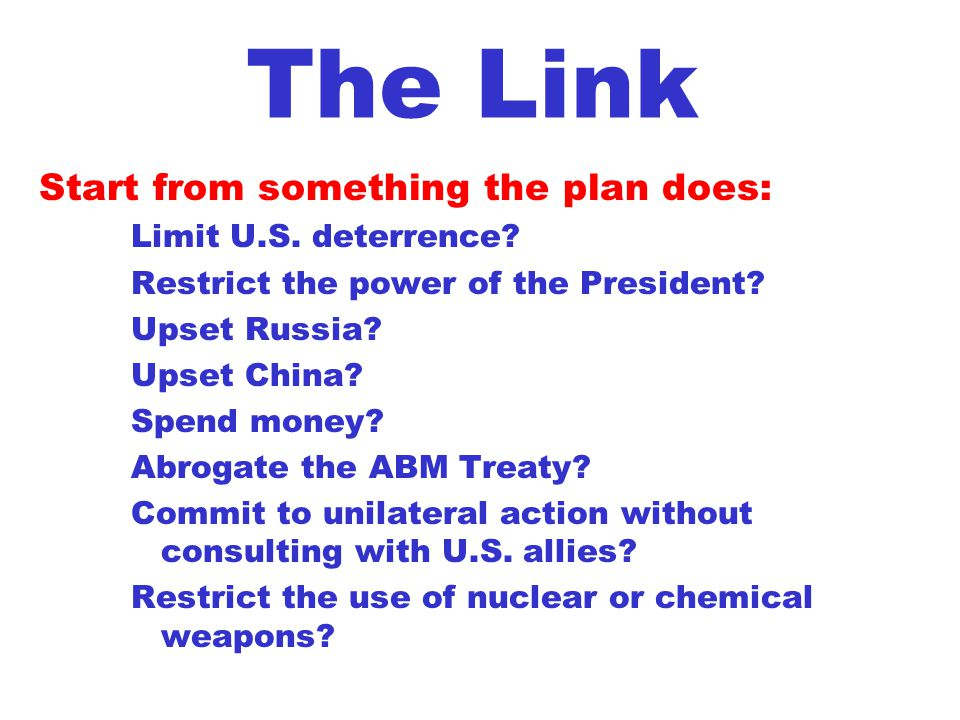 The Link Start from something the plan does: Limit U.S.
