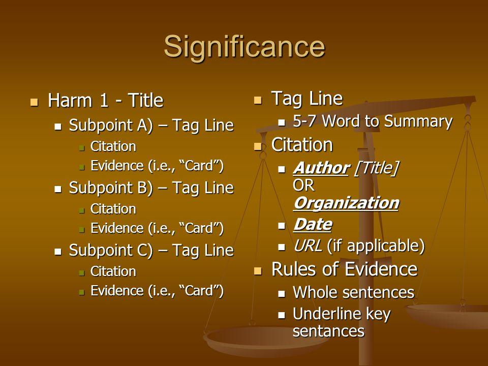 """Significance Harm 1 - Title Harm 1 - Title Subpoint A) – Tag Line Subpoint A) – Tag Line Citation Citation Evidence (i.e., """"Card"""") Evidence (i.e., """"Ca"""