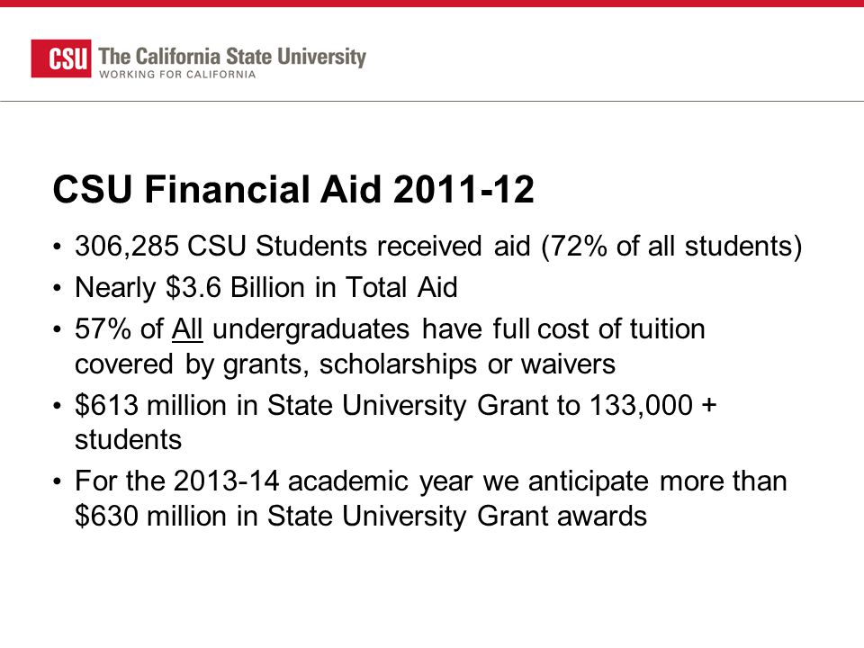 CSU Financial Aid 2011-12 306,285 CSU Students received aid (72% of all students) Nearly $3.6 Billion in Total Aid 57% of All undergraduates have full cost of tuition covered by grants, scholarships or waivers $613 million in State University Grant to 133,000 + students For the 2013-14 academic year we anticipate more than $630 million in State University Grant awards