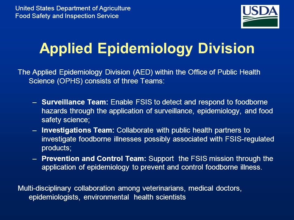 United States Department of Agriculture Food Safety and Inspection Service FSIS Vision and Mission Vision: A trusted public health regulatory agency c