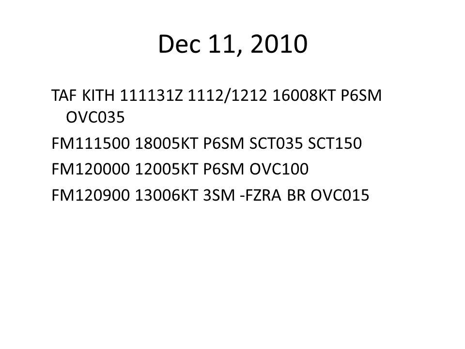 Dec 11, 2010 TAF KITH 111131Z 1112/1212 16008KT P6SM OVC035 FM111500 18005KT P6SM SCT035 SCT150 FM120000 12005KT P6SM OVC100 FM120900 13006KT 3SM -FZRA BR OVC015