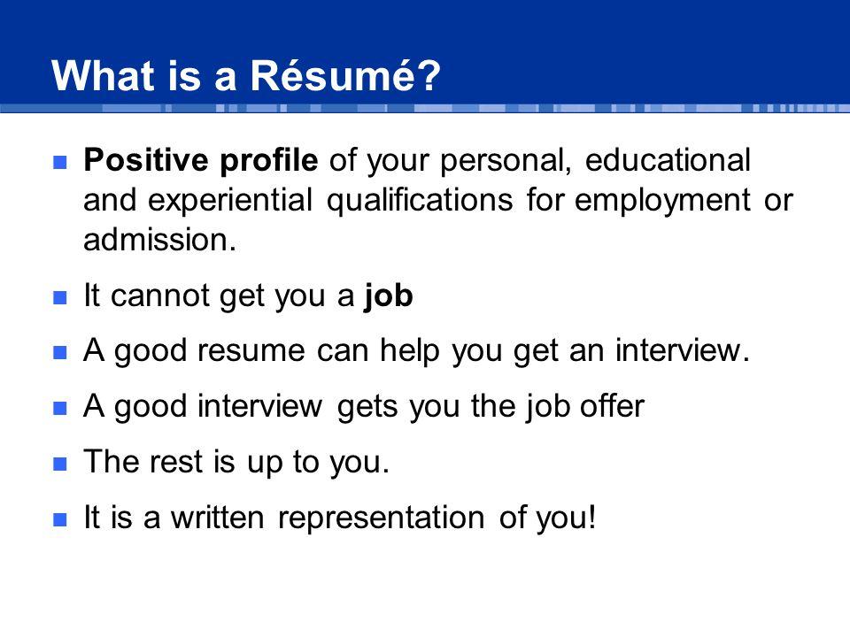 What is a Résumé.