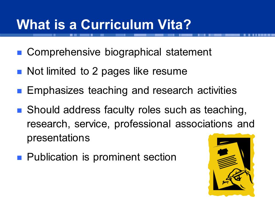 How is a Curriculum Vita used.