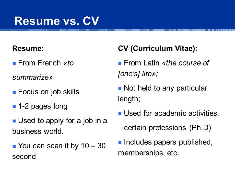 Resume vs.