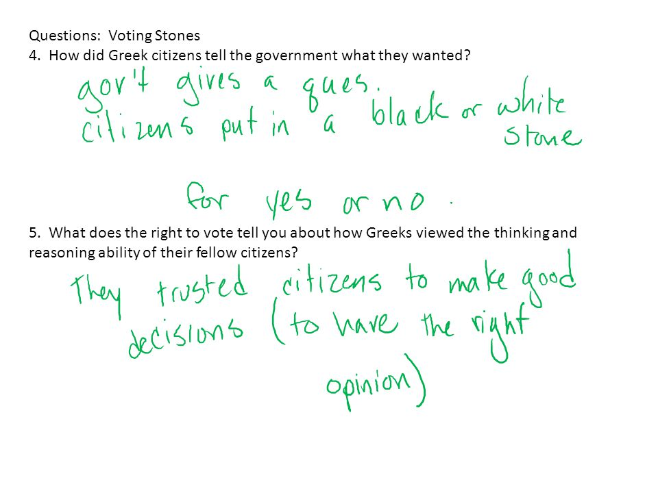 Questions: Voting Stones 4. How did Greek citizens tell the government what they wanted? 5. What does the right to vote tell you about how Greeks view