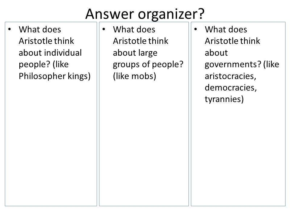 Answer organizer? What does Aristotle think about individual people? (like Philosopher kings) What does Aristotle think about governments? (like arist