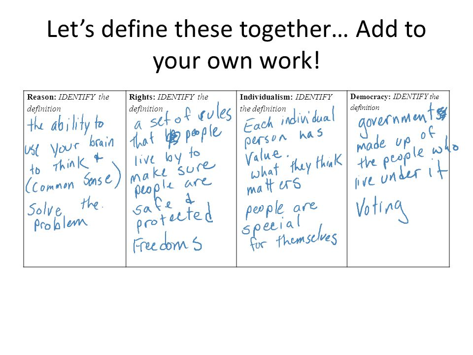 Let's define these together… Add to your own work.