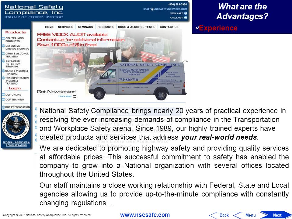 Copyright © 2007 National Safety Compliance, Inc.