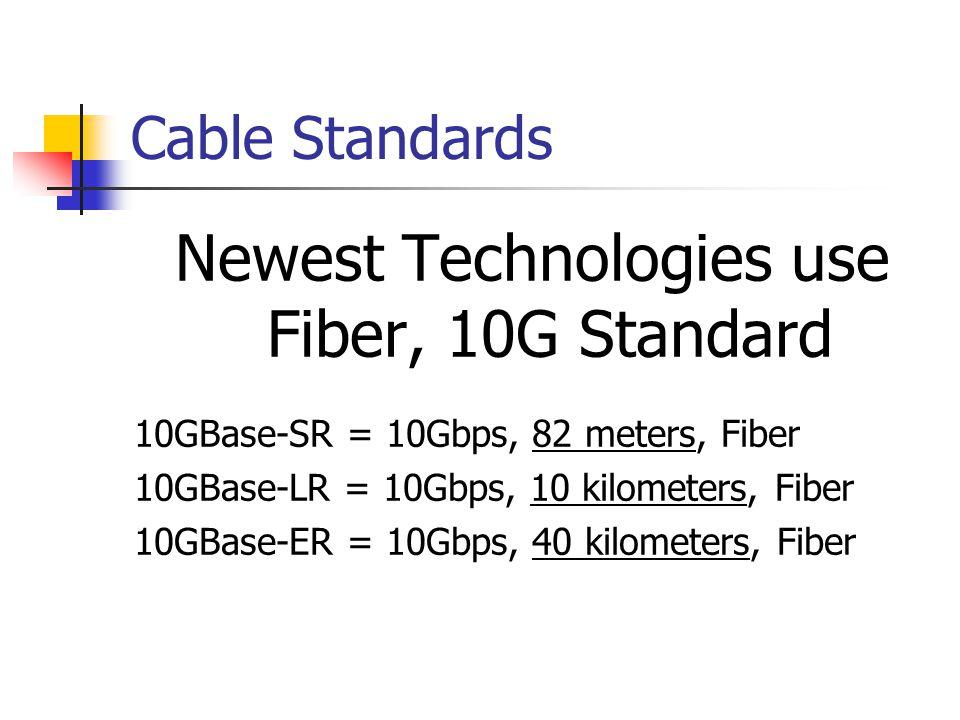 Cable Standards Newest Technologies use Fiber, 10G Standard 10GBase-SR = 10Gbps, 82 meters, Fiber 10GBase-LR = 10Gbps, 10 kilometers, Fiber 10GBase-ER = 10Gbps, 40 kilometers, Fiber