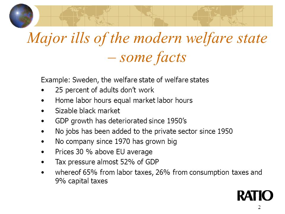 2 Major ills of the modern welfare state – some facts Example: Sweden, the welfare state of welfare states 25 percent of adults don't work Home labor hours equal market labor hours Sizable black market GDP growth has deteriorated since 1950's No jobs has been added to the private sector since 1950 No company since 1970 has grown big Prices 30 % above EU average Tax pressure almost 52% of GDP whereof 65% from labor taxes, 26% from consumption taxes and 9% capital taxes